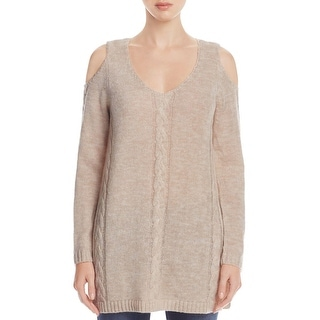 Cupio Blush Womens Tunic Sweater Knit Cold Shoulder