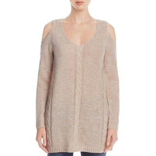 Cupio Blush Womens Tunic Sweater Knit Cold Shoulder