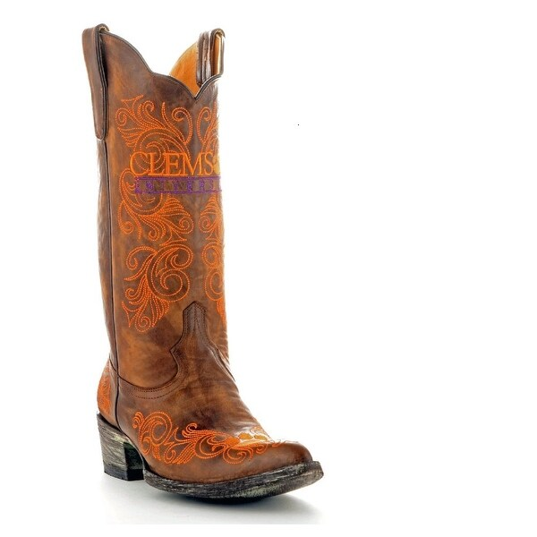 Gameday Boots Womens College Clemson Tigers Brass Orange