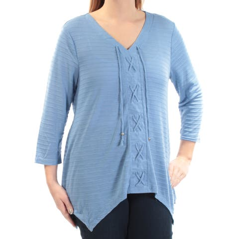 STYLE & CO Womens Blue 3/4 Sleeve V Neck Top Size: L
