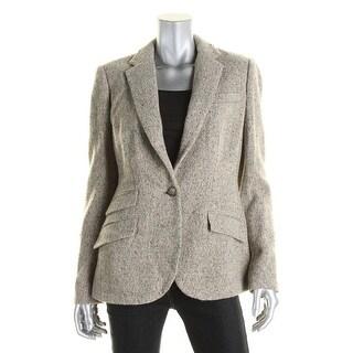 Lauren Ralph Lauren Womens One-Button Blazer Wool Notch Lapel