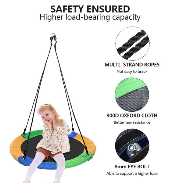 AMGYM 40 Saucer Tree Swing Kids Outdoor Platform Swing Set with Adjustable Ropes and Waterproof Colorful Oxford Cloth Safe and Breathy Seat Swing for Children Adults