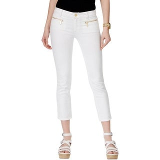 Michael Kors Womens Izzy Cropped Jeans Double Zipper Slimming Fit