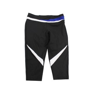Inc International Concepts Black Colorblocked Cropped Active Leggings L