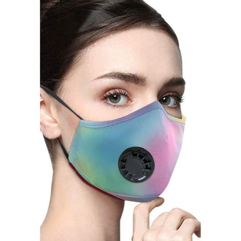 Cali Chic Face Cover Breathable Face Mask Washable Green Pink Multicolor Tie Dye Ships from USA - one size