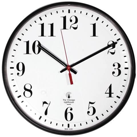 Chicago lighthouse 12.75in blk slimline clock std num 67300002