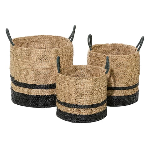 """Woven Striped Round Seagrass Baskets With Handles Set Of 3 15"""" 17"""" 18"""" - 16 x 16 x 18Round"""