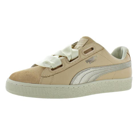 Puma Womens Basket Heart Up Fashion Sneakers Leather Low-Top - Natural Vachetta