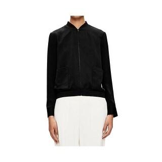 Theory NEW Black Womens Size Medium M Full-Zip Bomber Silk Jacket