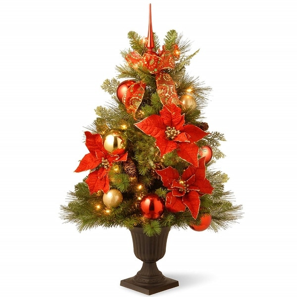 3 Pre Lit Christmas Tree.3 Pre Lit Potted Decorative Holidays Entrance Artificial Christmas Tree Clear Lights 3 Foot