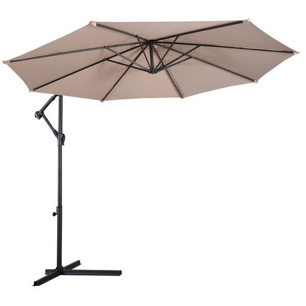 Costway 10' Hanging Umbrella Patio Sun Shade Offset Outdoor Market W/t Cross Base (Beige)