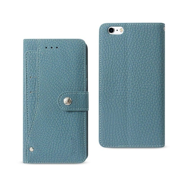 REIKO IPHONE 6 PLUS/ 6S PLUS WALLET CASE WITH SLIDE OUT POCKET AND FOLD STAND IN NAVY