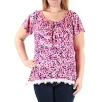 Womens Pink Floral Short Sleeve Keyhole Casual Top  Size  M