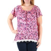Womens Pink Floral Short Sleeve Keyhole Casual Top  Size  XL