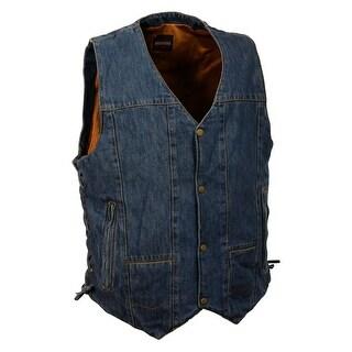 Mens Denim 10 Pocket Side Lace Vest