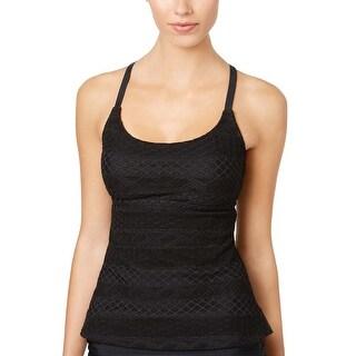 Island Escape Womens Sky Strappy Crochet Tankini Top 12 Black Swimsuit