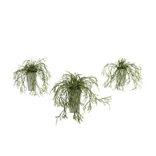 Nearly Natural Wild Grass with White Vase Arrangement - Set of 3