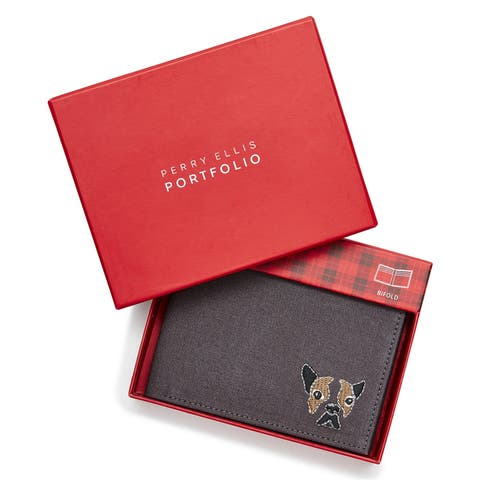 Perry Ellis Mens Dog Bifold Wallet - One Size