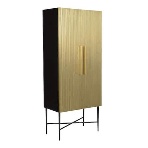 Aurelle Home Modern Solid Mango and Brass Cabinet