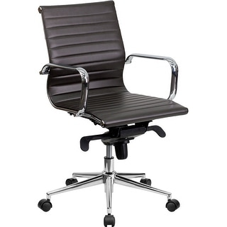 Silkeborg Mid-Back Brown Ribbed Leather Swivel Conference Chair, Knee-Tilt, Arms