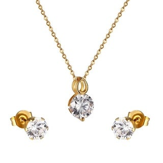 14k Gold Tone Solitaire CZ Earrings Stainless Steel Pendant Necklace Set Ladies