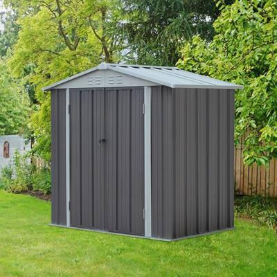 Kinbor 6' x 4' Outdoor Metal Storage Shed for Bike, Garden Tools, Accessories, Outdoor Storage Box w/ Door & Lock