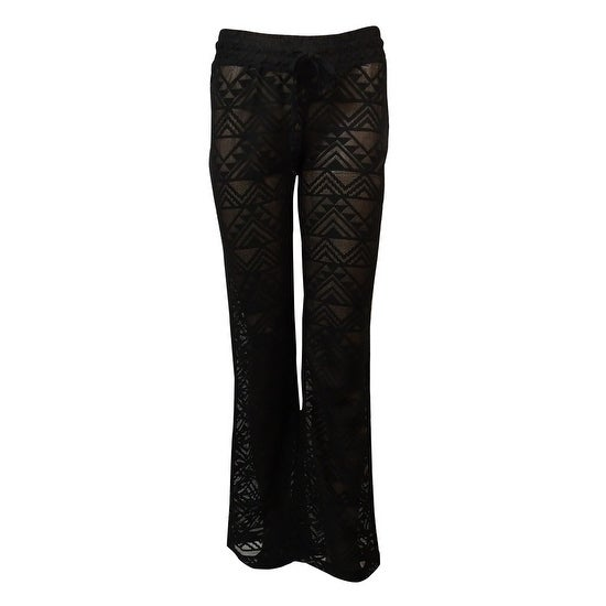 c5eb14d6bd1bc Shop Miken Women's Crochet Lace Drawstrings Swim Pants Cover Up (S, Black)  - Black - S - Free Shipping On Orders Over $45 - Overstock - 15875451