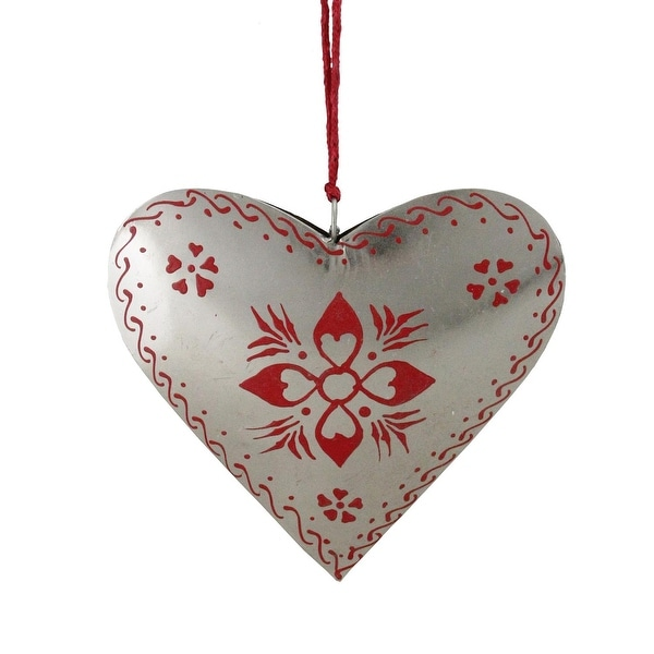"6"" Alpine Chic Country Rustic Style Silver and Red Floral Heart Christmas Ornament"