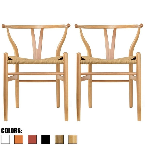 2xhome - Set of 2 Natural Modern Wood Dining Chair With Back Y Arm Armchair Hemp Seat For Home Restaurant Office Desk Task Work