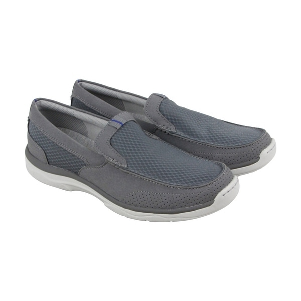 Clarks Marus Step Mens Gray Textile Casual Dress Slip On Loafers Shoes