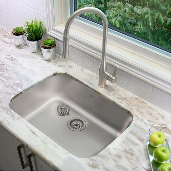 "23""L x 18""W Stainless Steel Single Basin Dual mount Kitchen Sink with Strainer. Opens flyout."