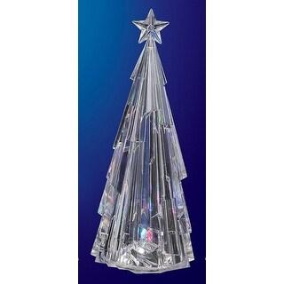 "Pack of 4 Icy Crystal Illuminated Decorative Modern Christmas Tree Figurines 8"""