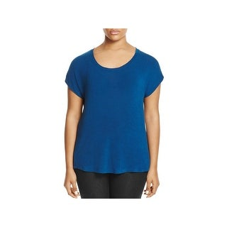 Bobeau Womens Plus Meagan Pullover Top Scoop Neck Rounded Hem