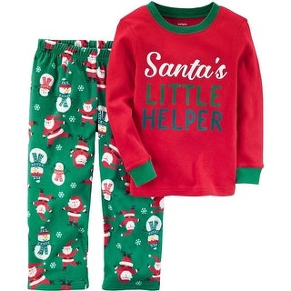 Carters Boys 2T-4T Santa Microfleece Pajama Set - Red