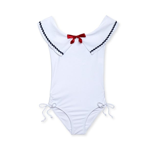 da4fa87bbe3fb Shop Stella Cove Little Girls White Sailor Rick Rack Trim One Piece Swimsuit  - Free Shipping Today - Overstock - 28299342