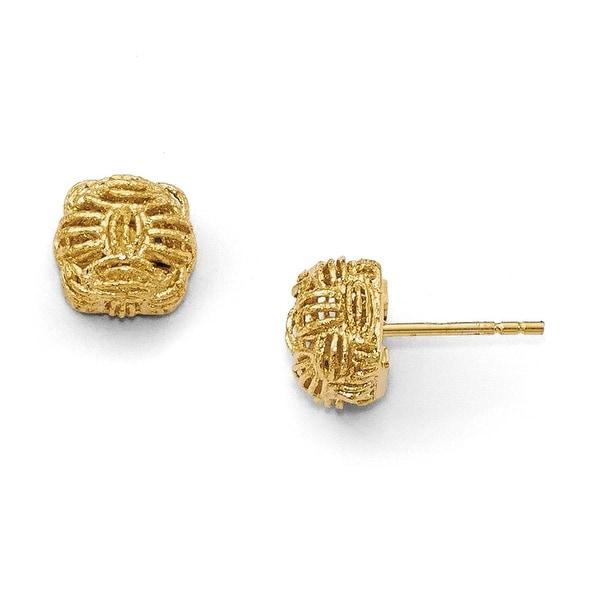 Italian 14k Gold Small Diamond Cut Basketweave Post Earrings