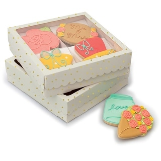 Sweet Sugarbelle Four Cookies Box-White W/Gold Dots