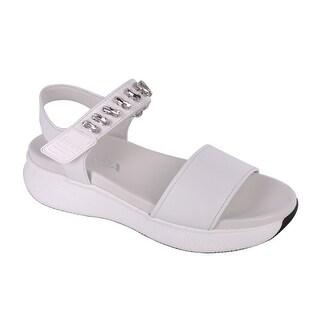 Prada Women White Embellished Leather Platform Sandals