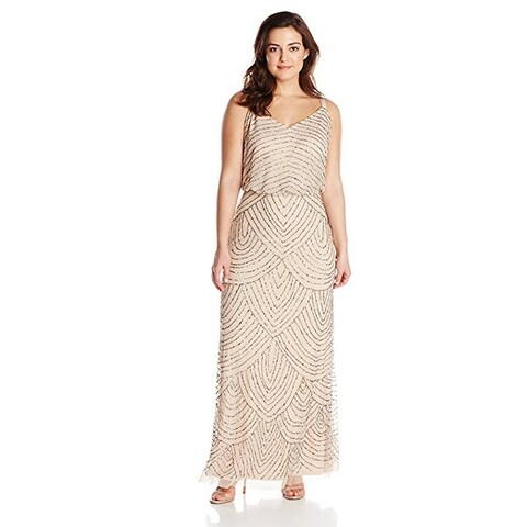 Adrianna Papell Women's Plus-Size Long Beaded Gown