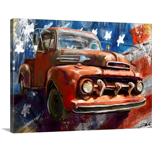 """""""1950 Ford and Flag"""" Canvas Wall Art"""