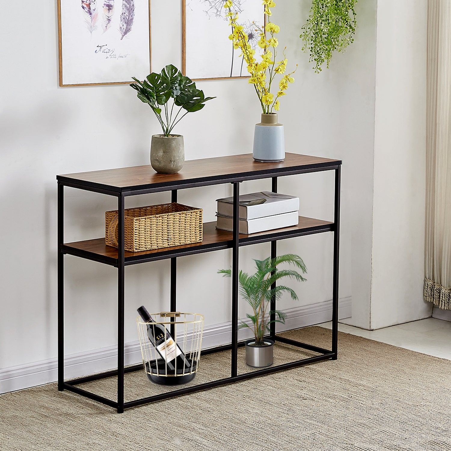 VECELO Coffee Table/Console Table Brong Finish Livingroom Furnature