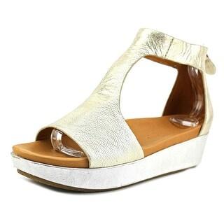 Gentle Souls Jefferson Women Open Toe Leather Gold Wedge Sandal
