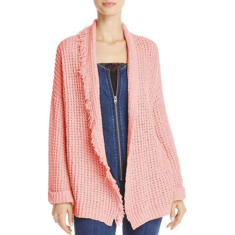 Free People Womens Cardigan Sweater Silk Fringe Trim
