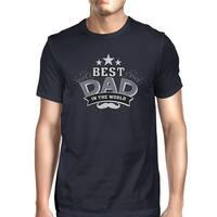 Best Dad In The World Mens Navy T-Shirt Vintage Design Graphic Tee