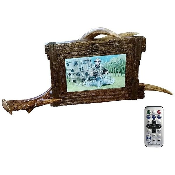 Old Crate Digital Picture Frame with Antler Stand - Free Shipping On ...