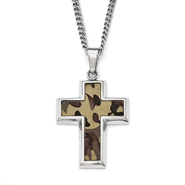 Chisel Stainless Steel Polished Printed Brown Camo Under Rubber Cross Necklace - 22 in