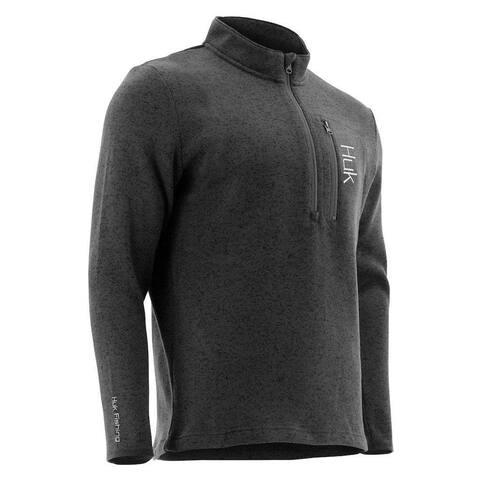Huk Men's Channel Dark Grey Heather Size Medium 1/4 Zip Sweater