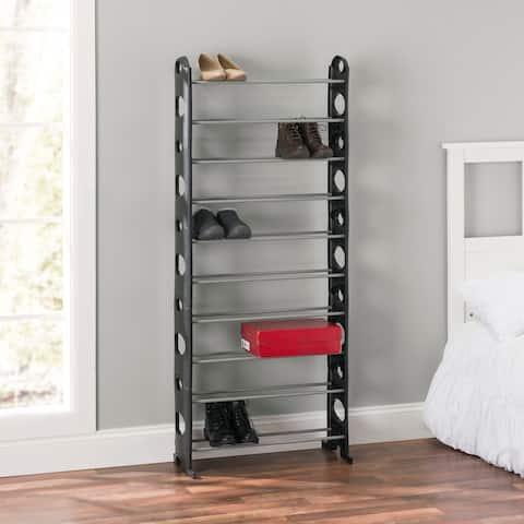 "Home Basics Black Stackable 30-Pair Metal and Plastic Shoe Rack - 25.5"" x 8"" x 61"""