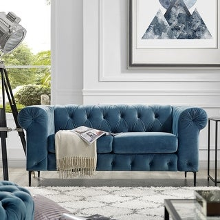 Link to Corvus Prato Tufted Velvet Chesterfield Loveseat Sofa with Rolled Arms Similar Items in Living Room Furniture