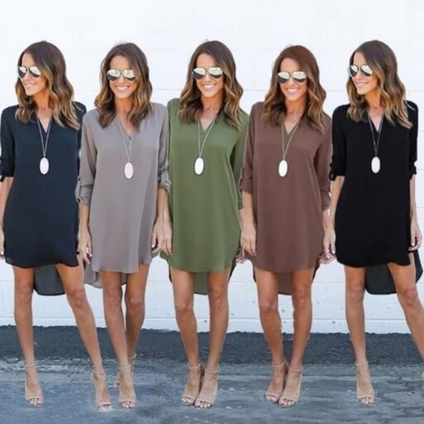Women's Long Sleeve V-Neck Chiffon Dress. Opens flyout.